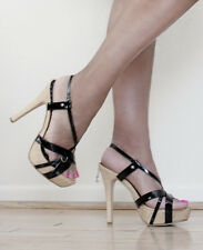 "Strappy Retro Black Patent Sandals 5"" High Heels Platform Dangling Penthouse Key"