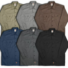 Dickies Mens LONG SLEEVE L/S WORK SHIRT Style #574 All Colors Extra Long Tail