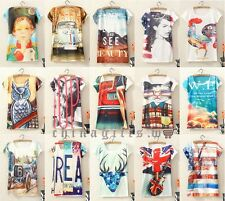 Various Stylish Selected Women Fitted Graphic Printed Vest Short Sleeve T-Shirt