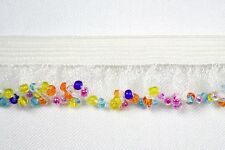 "Unotrim 6/8"" Elastic Ruffle Beaded Fringe Trim Multi-color Glass Bugle Beads"