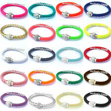 PU Leather Wrap Wristband Rhinestone Stainless Steel Magnetic Buckle Bracelet