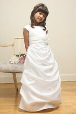 Bridal Satin White A-Line Gathered Flower Girl Dress Bridesmaid Sunday Wedding