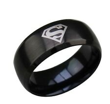 1 x Fashion Superman S Shape Style Titanium Steel Rings Gold Silver Black Color