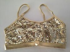 New Gia-Mia G229 Adult Gold Sequin Bra Top Dance Wear Excellent Quality