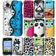 For LG Optimus Zone 2 Fuel L34C Phone Panda Spade Fish SNAP ON Hard Case Cover