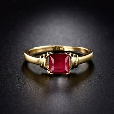 Wedding Band ring ! 24k gold filled luxury Solitaire ruby RING Sz5-Sz9