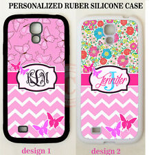PINK BUTTERFLY FLORAL CHEVRON MONOGRAM CASE For Samsung Galaxy S7 NOTE 7 CUSTOM