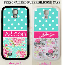 TEAL POLKA DOTS PINK ROSES FLORAL MONOGRAM Case For Samsung Galaxy S6 S7 NOTE 5
