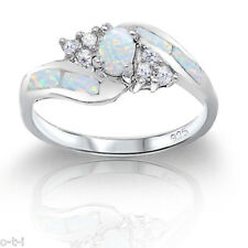 Oval Infinity Celtic White CZ w/ Moon Fire Opal Sterling Silver Ring Size 4 - 10