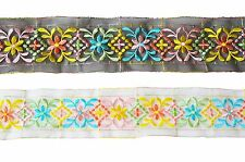 """Unotrim 2.5"""" Ivory & Black Sheer Floral Color Embroidered Lace Trim By Yardage"""