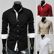 Men Luxury Fashion Long Sleeve Slim Lapel Dress Shirts Casual Shirts Clubwear PJ