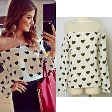 2014 Autumn Fashion Women Blouse Casual Shirt Loose Heart Printchiffon Shirt