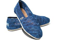NEW TOMS CLASSIC CROCHET COBALT WOMENS SHOES FLATS FAST SHIP ALL SIZES NIB