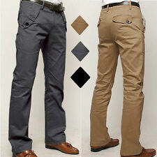 Mens Straight Leg Slim Fit Trousers Casual Long Chino BUSINESS FORMAL Pants Jean