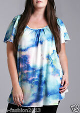 Marina Kaneva Woman New Plus Size Angel Sleeve Top in Blue Galaxy Print
