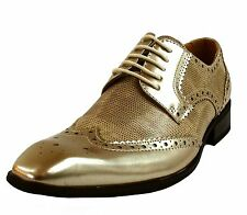 New men's shoes dress formal prom fashion wing tip lace up gold wedding prom