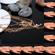 Fashion Punk Style Metal Slave Chain Hand Harness Bracelet&Ring Jewelry