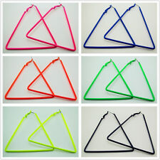 FREE Fashion Fluorescent color Big Hoop Triangle Earring Hiphop Punk Stud 2.8""