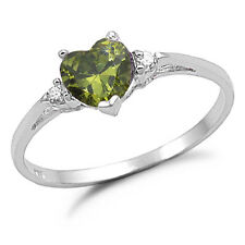 Sterling Silver Peridot CZ Engagement Ring - Sizes 4 to 10- SR720