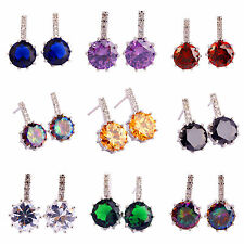 Classical Newly Style Black Spinel & Multi-Color Gemstone Stud Silver Earrings