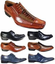 Men Dress Shoes Crocodile Print Oxford Formal Church Pointy Lace Up Brown Expres