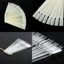 50x False Nail Art Tips Board Sticks Polish Display Fan Practice Tool Nude/Clear