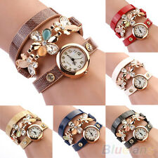 Women's New Classic Rhinestone Quartz Analog Flower Decor Bracelet Wrist Watch
