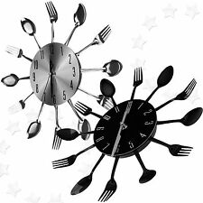 Modern Design Sliver/Black Cutlery Kitchen Wall Clock Spoon Fork Clock New