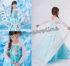 Hot Sale Frozen Elsa Dress Up Gown Costume Ice Princess Queen Dress Size 3-8Y