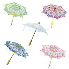 Bridal Wedding Embroidered Lace Parasol Umbrella Party Decoration Purple New