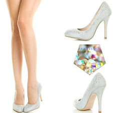 Glitter Rainbow Rhinestone Crystal Stiletto High Heel Bridal Prom Pump Sandal US