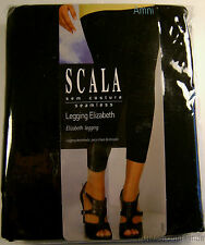 SCALA Black Leggings Elizabeth Seamless Footless Pants Ankle Length Choice Size
