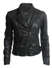 New womens genuine lambskin black fashion leather motorcycle jacket biker style