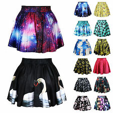2014 New Fashion Women's Digital Print Galaxy Short Pleated Skater Skirt Dress