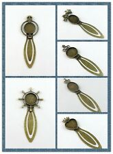 Antiqued Bronze Alloy Bookmark Base Round Cameo Setting Jewelry 5pcs