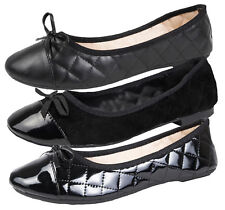 Womens Slip On Quilted Ballet Pumps Faux Patent Leather Suede Shoes Size UK 3-8