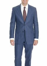 Kroon Classic Fit Blue Textured Two Button Pure Linen Suit