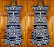 NEW MONSOON BLUE BLACK IVORY WHITE TRIBAL SUMMER TUNIC SHIFT DRESS UK SIZE 8-18