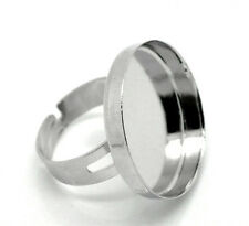 wholesale Hot Silver Tone Adjustable Ring Base Blank 18.3mm
