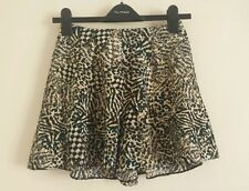 MISS SELFRIDGE 4-16  Animal Print Flippy Skort Skirt Shorts Ladies Party Black