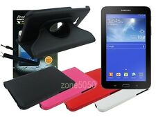 Swivel Leather Case+Screen Protector+Cleaner for Samsung Galaxy Tab 3 Lite 7.0