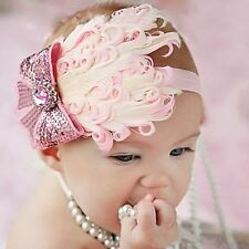 New Cute Infant Baby Toddler Girl Feather Hairband Flower Headband Soft Wear
