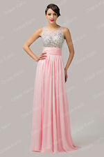 NEW Sequins Long Chiffon Evening Formal Bridesmaid Wedding Gown Prom Party Dress