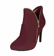 Prevail-30! Qupid Women Pointy Toe Ankle Bootie Heel Burgundy Nubuck Leatherette