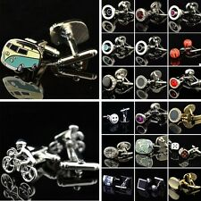 A Pair Stainless Steel men's Jewelry Wedding Party Crystal Cufflinks Cuff Link