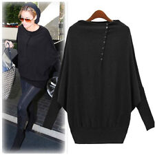 Women Fashion Celeb  Loose Big Size Long Sleeve Base Shirts Sweaters
