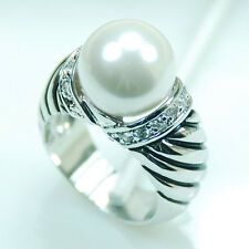 White Pearl White Topaz 925 Sterling Silver Gemstone Ring Size 6 7 8 9 10 F709