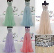 A-Line Strapless Tulle Formal Prom Dresses Sequined Ball Party Evening Gown
