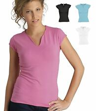 SOLs Ladies Fit Y Neck Stretch T-Shirt Womens Short Sleeve Fashion Top New