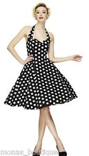 50'S 60'S VINTAGE JIVE HALTERNECK ROCKABILLY PARTY DRESS BLACK WHITE POLKA 8  28